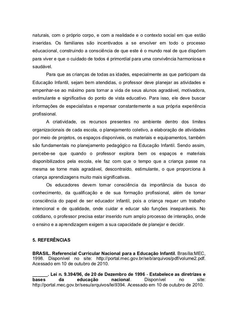 Artigo cientifico sobre educacao infantil