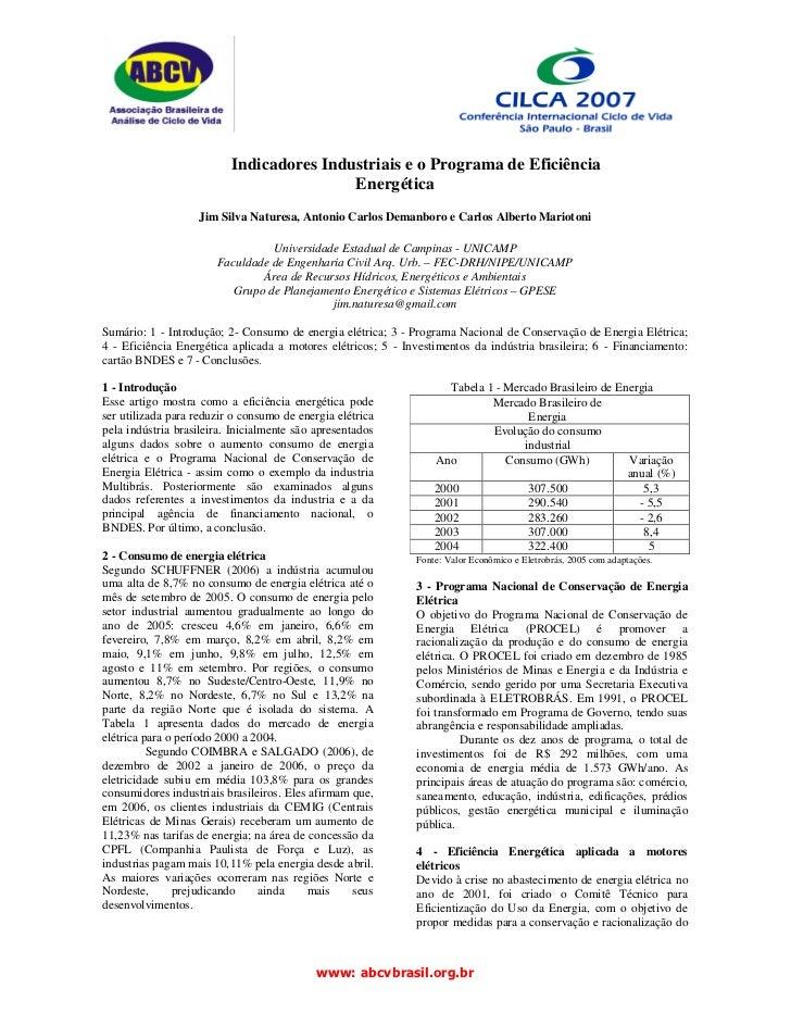 Indicadores Industriais e o Programa de Eficiência                                          Energética                   J...