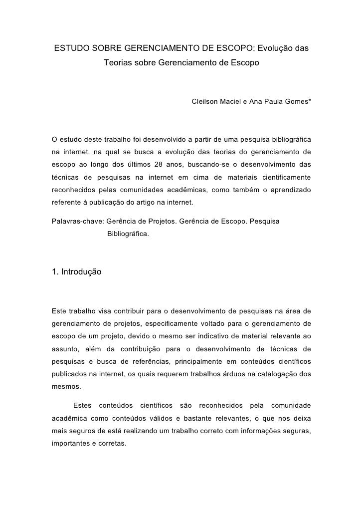 ESTUDO SOBRE GERENCIAMENTO DE ESCOPO: Evolução das                 Teorias sobre Gerenciamento de Escopo                  ...
