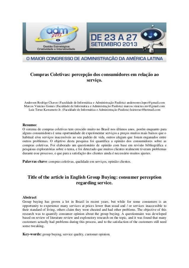 Compras Coletivas: percepção dos consumidores em relação ao serviço. Anderson Rodrigo Chaves (Faculdade de Informática e A...