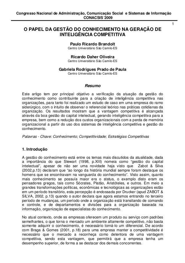 Congresso Nacional de Administração, Comunicação Social e Sistemas de Informação CONACSIS´2009 1 O PAPEL DA GESTÃO DO CONH...