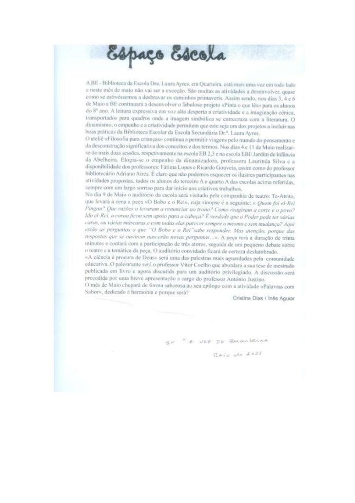 Artigo da BE in A Voz de Quarteira - Maio 2011