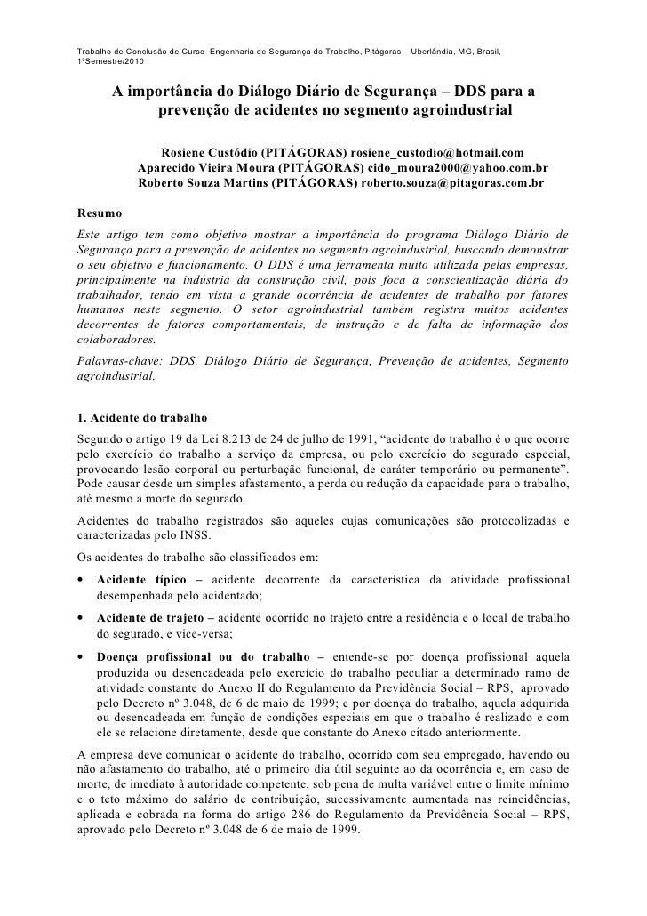 Trabalho de Conclusão de Curso–Engenharia de Segurança do Trabalho, Pitágoras – Uberlândia, MG, Brasil,1ºSemestre/2010    ...