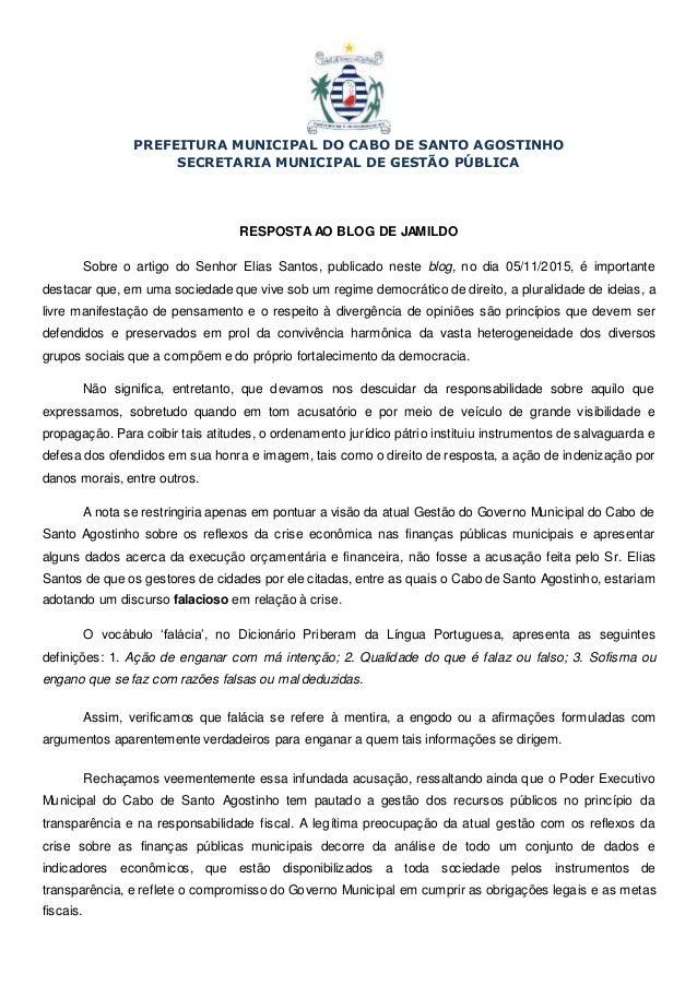 PREFEITURA MUNICIPAL DO CABO DE SANTO AGOSTINHO SECRETARIA MUNICIPAL DE GESTÃO PÚBLICA RESPOSTAAO BLOG DE JAMILDO Sobre o ...
