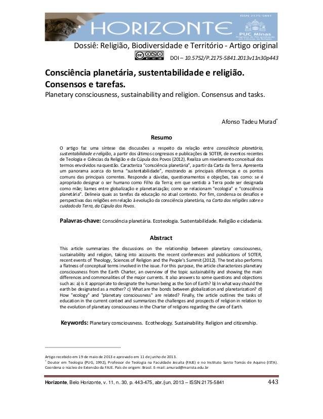 Dossiê: Religião, Biodiversidade e Território - Artigo original DOI – 10.5752/P.2175-5841.2013v11n30p443 Horizonte, Belo H...