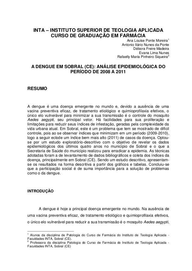 INTA – INSTITUTO SUPERIOR DE TEOLOGIA APLICADA            CURSO DE GRADUAÇÃO EM FARMÁCIA                                  ...