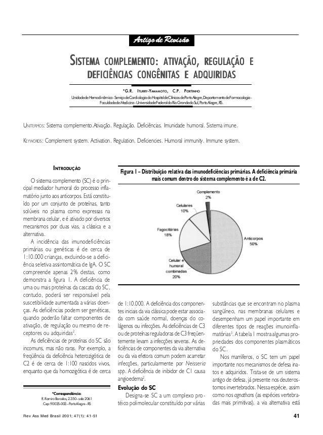 Rev Ass Med Brasil 2001; 47(1): 41-51 41 COMPLEMENTO: ATIVAÇÃO, REGULAÇÃO E DEFICIÊNCIAS SSISTEMAISTEMA COMPLEMENTCOMPLEME...