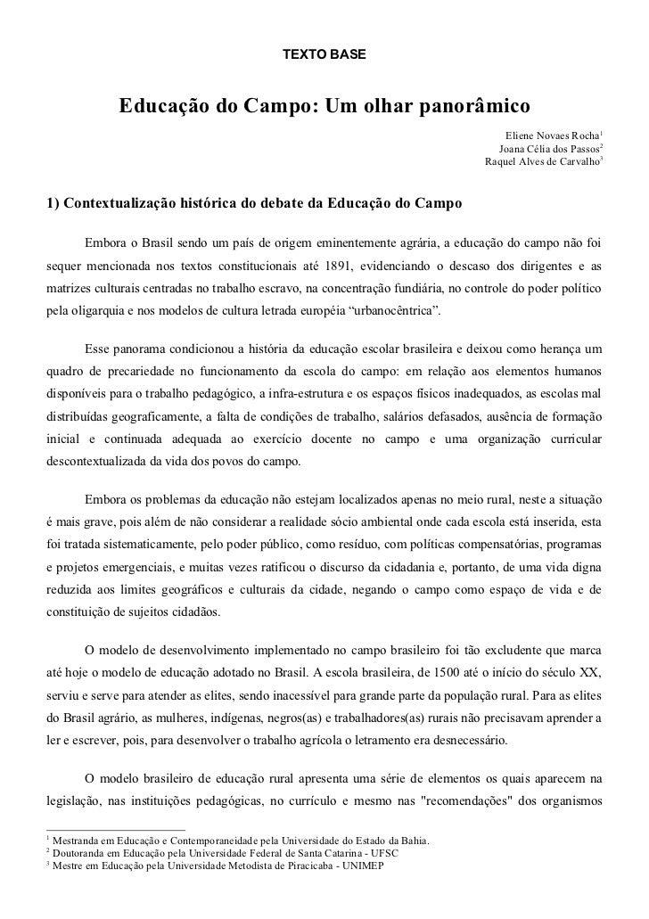 TEXTO BASE               Educação do Campo: Um olhar panorâmico                                                           ...