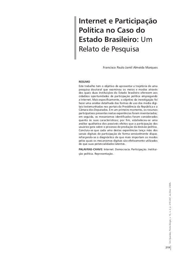 219 EmQuestão,PortoAlegre,v.15,n.2,p.219-247,Jul./Dez.2009. RESUMO Este trabalho tem o objetivo de apresentar a trajetória...