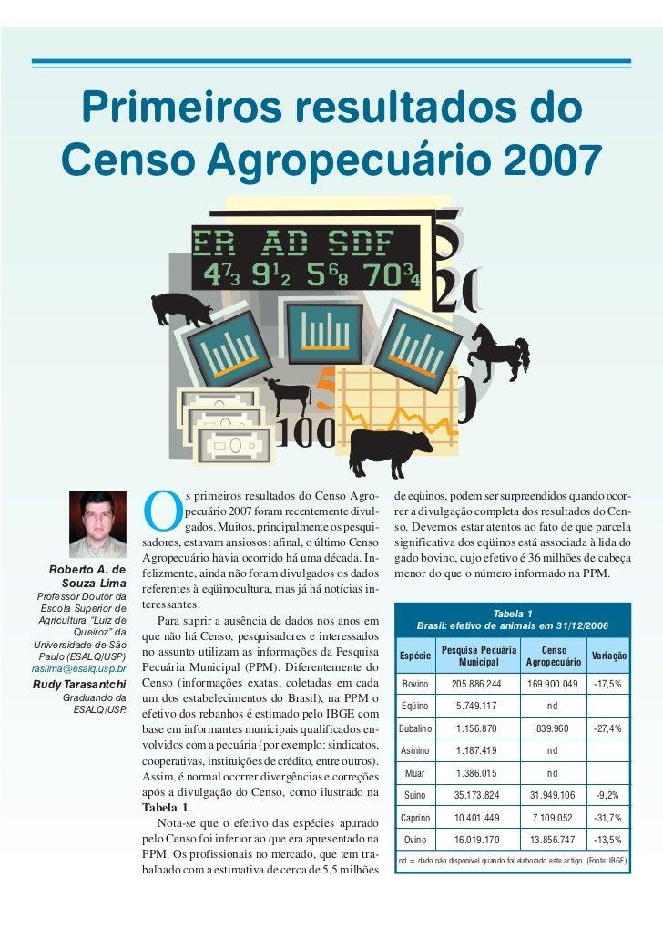 Primeiros resultados do      Censo Agropecuário 2007                         O                                  s primeiro...