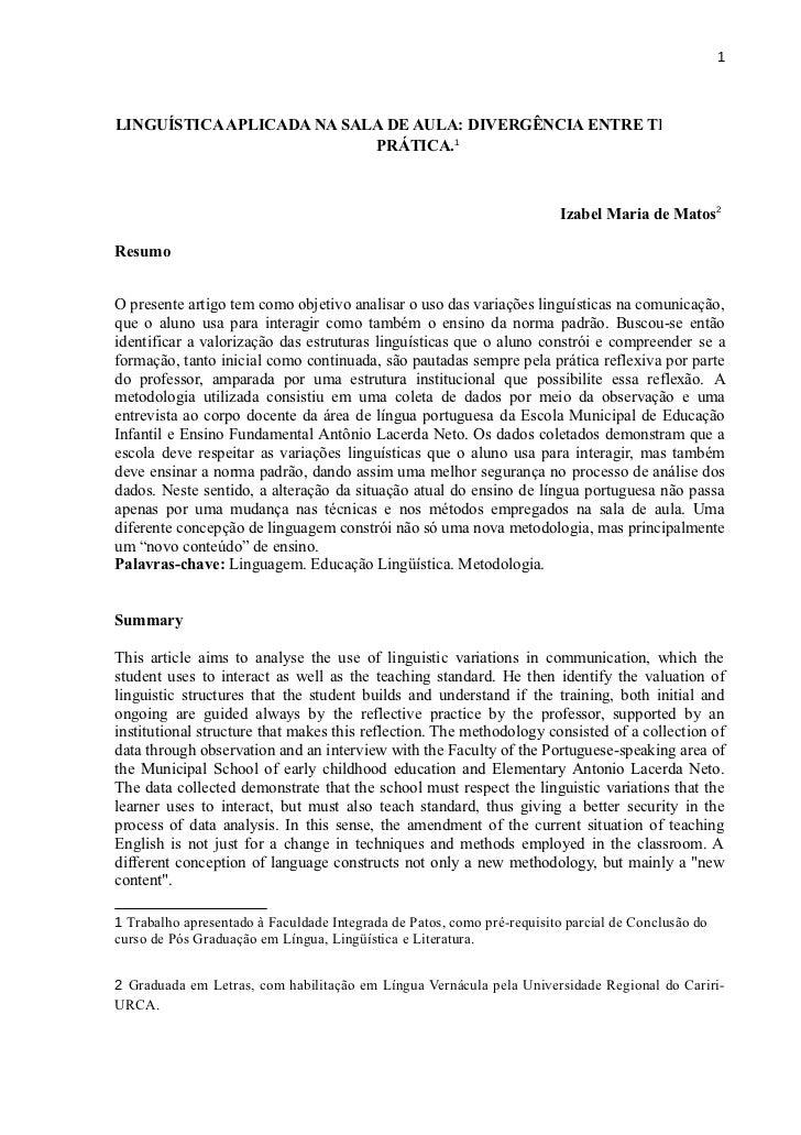 1LINGUÍSTICA APLICADA NA SALA DE AULA: DIVERGÊNCIA ENTRE TEORIA E                           PRÁTICA.1                     ...