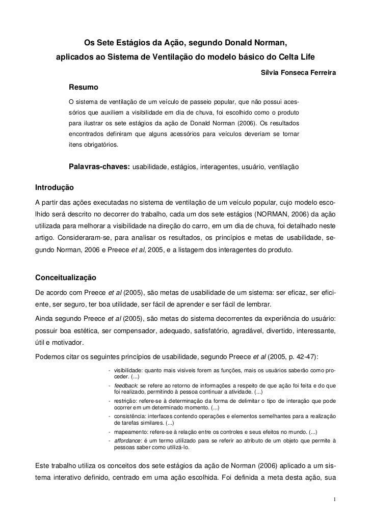 Os Sete Estágios da Ação, segundo Donald Norman,       aplicados ao Sistema de Ventilação do modelo básico do Celta Life  ...