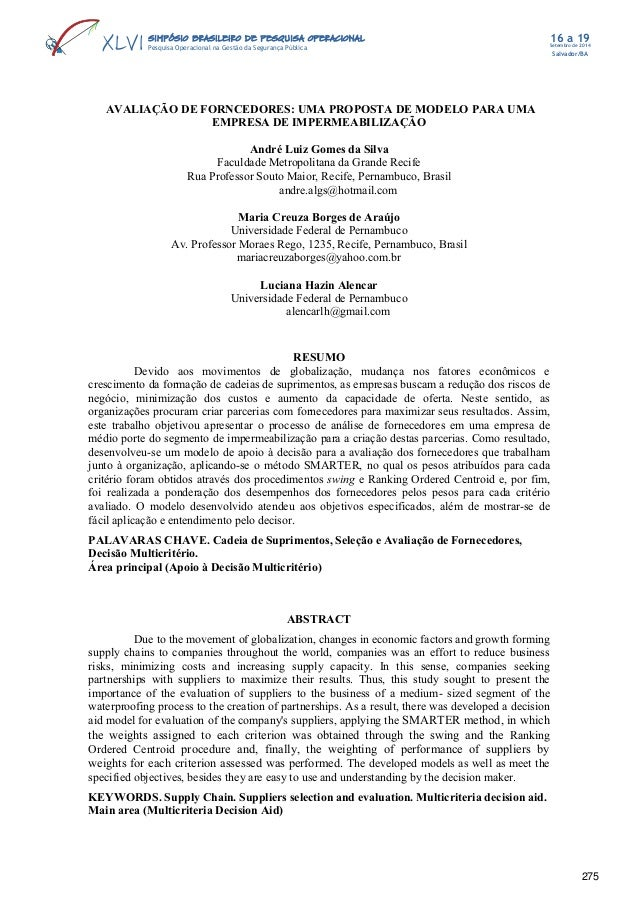 Setembro de 2014 Salvador/BA 16 a 19SIMPÓSIO BRASILEIRO DE PESQUISA OPERACIONALSIMPÓSIO BRASILEIRO DE PESQUISA OPERACIONAL...