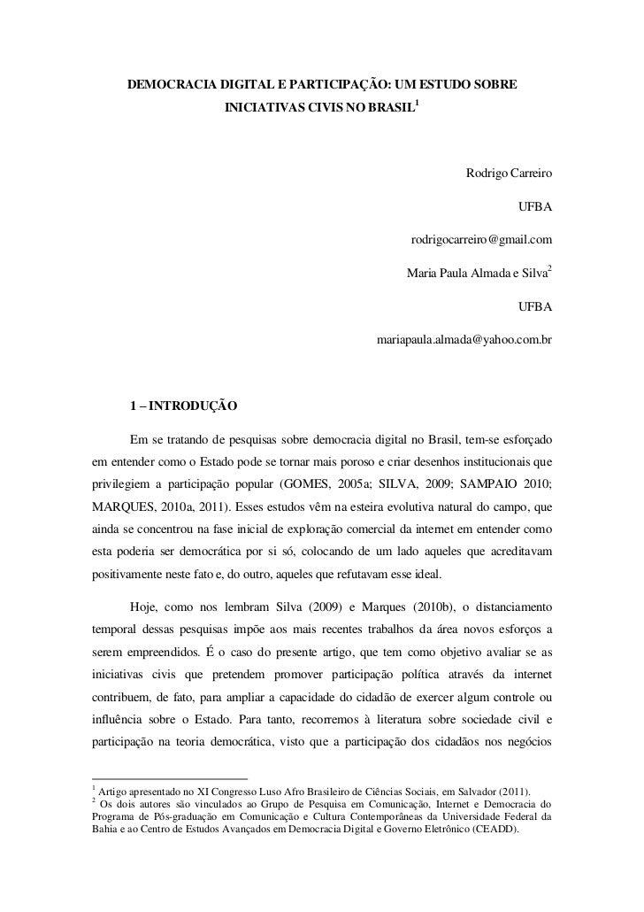 DEMOCRACIA DIGITAL E PARTICIPAÇÃO: UM ESTUDO SOBRE                           INICIATIVAS CIVIS NO BRASIL1                 ...