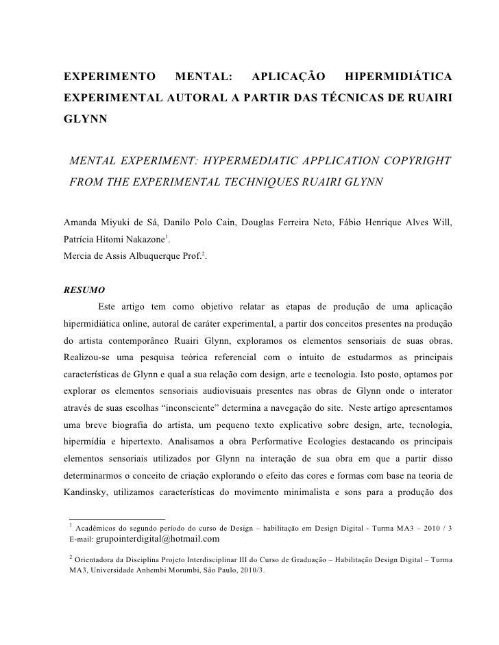 EXPERIMENTO                     MENTAL:                APLICAÇÃO                  HIPERMIDIÁTICA EXPERIMENTAL AUTORAL A PA...