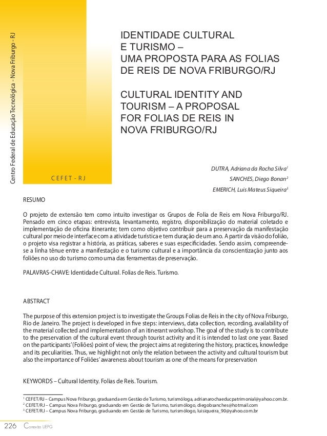226 Conexa- o UEPG  IDENTIDADE CULTURAL  E TURISMO –  UMA PROPOSTA PARA AS FOLIAS  DE REIS DE NOVA FRIBURGO/RJ  CULTURAL I...