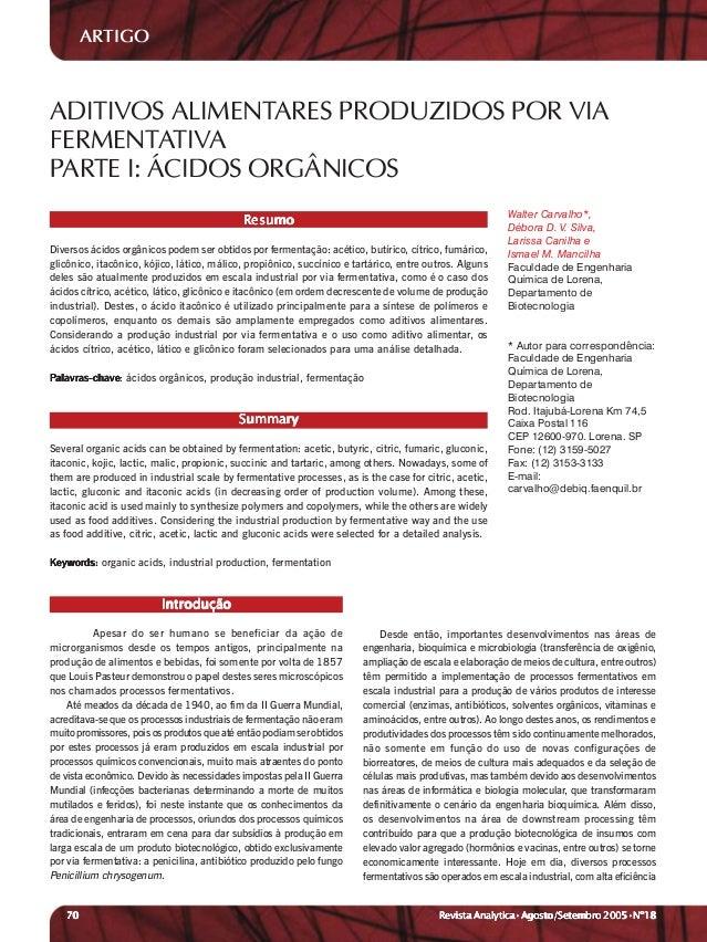 ARTIGOADITIVOS ALIMENTARES PRODUZIDOS POR VIAFERMENTATIVAPARTE I: ÁCIDOS ORGÂNICOS                                        ...