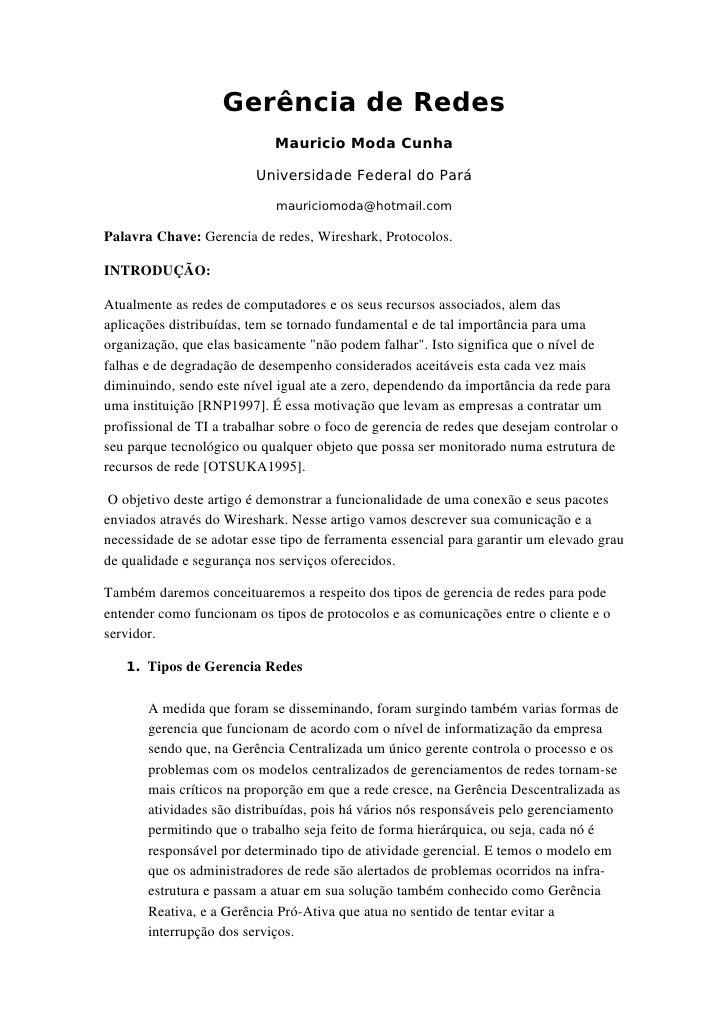 Gerência de Redes                              Mauricio Moda Cunha                            Universidade Federal do Pará...