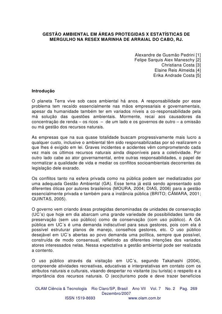 GESTÃO AMBIENTAL EM ÁREAS PROTEGIDAS X ESTATÍSTICAS DE        MERGULHO NA RESEX MARINHA DE ARRAIAL DO CABO, RJ.           ...