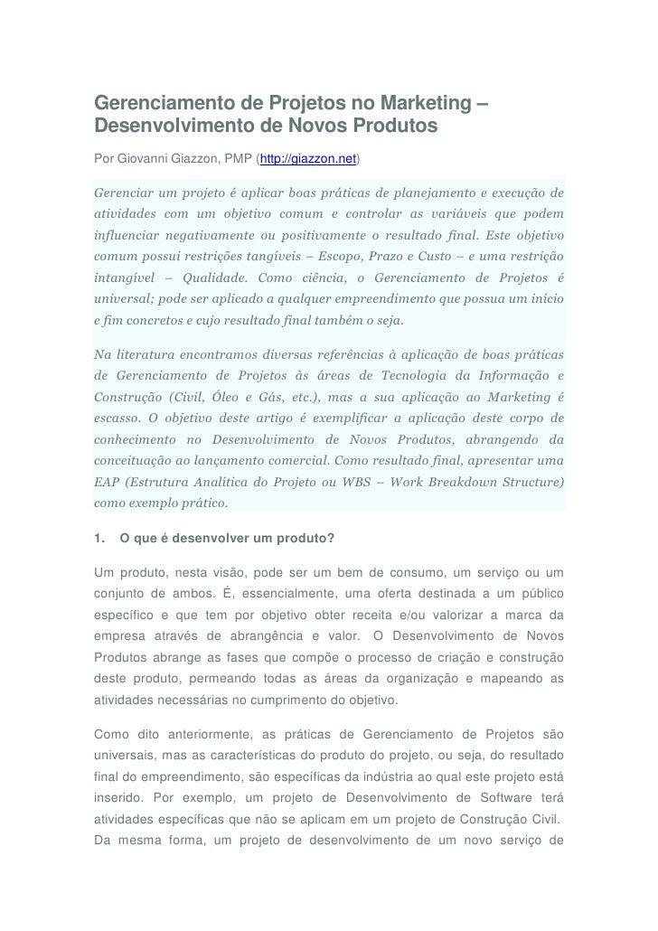 Gerenciamento de Projetos no Marketing – Desenvolvimento de Novos Produtos Por Giovanni Giazzon, PMP (http://giazzon.net) ...