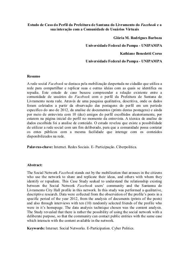 Estudo de Caso do Perfil da Prefeitura de Santana do Livramento do Facebook e asua interação com a Comunidade de Usuários ...