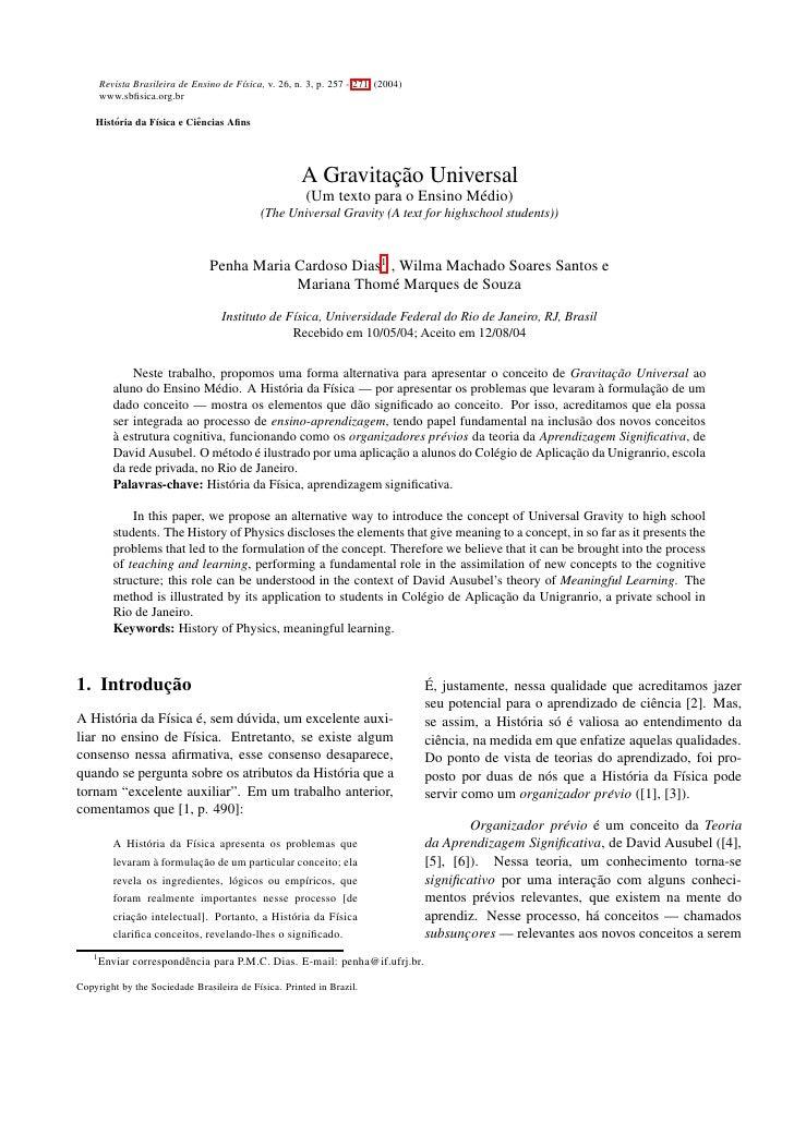 Revista Brasileira de Ensino de F´sica, v. 26, n. 3, p. 257 - 271, (2004)                                          ı      ...