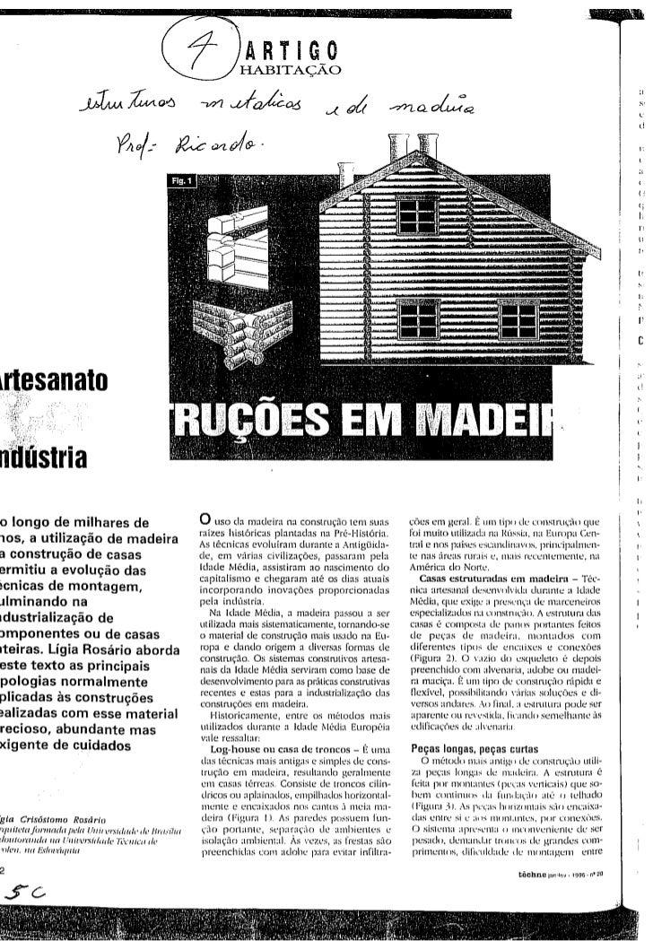 Artigo habitação estruturas metalicas de madeira
