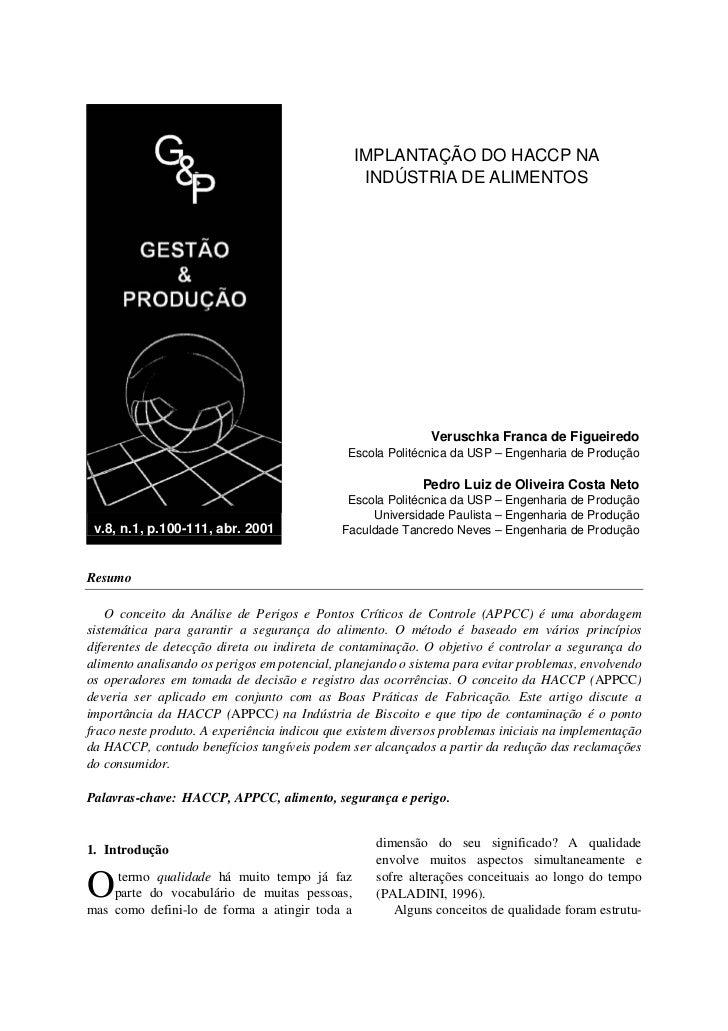 IMPLANTAÇÃO DO HACCP NA                                                INDÚSTRIA DE ALIMENTOS                             ...