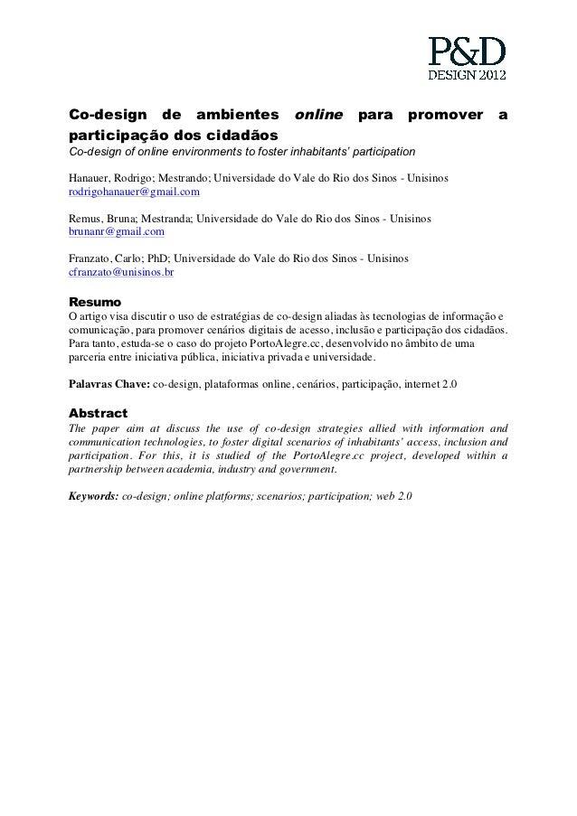 Co-design de ambientes                          online        para       promover           aparticipação dos cidadãosCo-d...