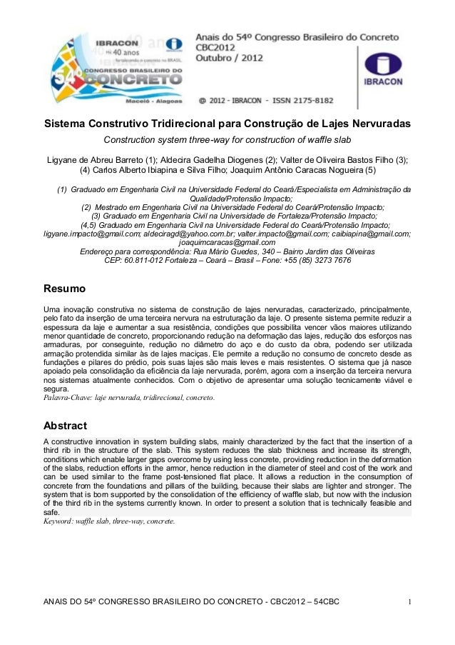 Sistema Construtivo Tridirecional para Construção de Lajes Nervuradas Construction system three-way for construction of wa...