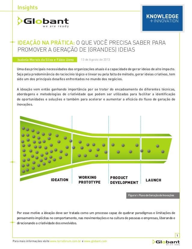 Insights Para mais informações visite www.terraforum.com.br e www.globant.com IDEAÇÃO NA PRÁTICA: O QUE VOCÊ PRECISA SABER...