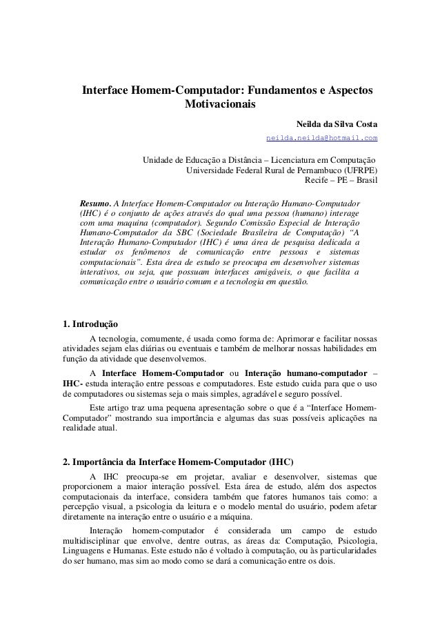 Interface Homem-Computador: Fundamentos e Aspectos                      Motivacionais                                     ...