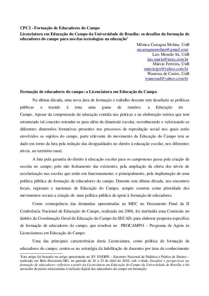 CPC2 - Formação de Educadores do CampoLicenciatura em Educação do Campo da Universidade de Brasília: os desafios da formaç...