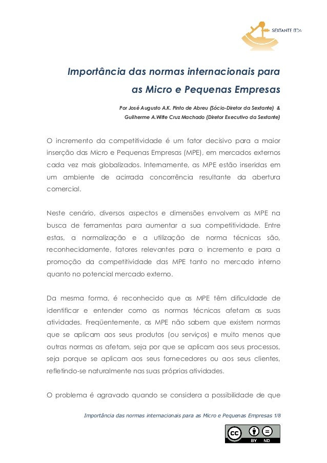 Importância das normas internacionais para as Micro e Pequenas Empresas 1/8 Importância das normas internacionais para as ...