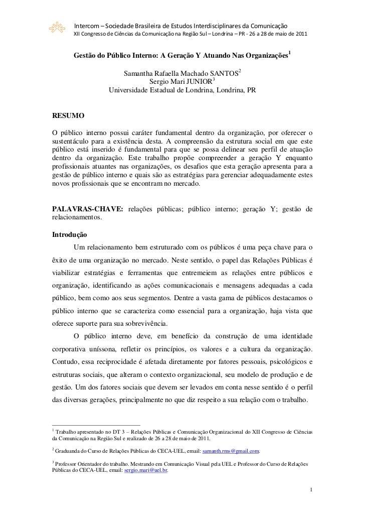 Intercom – Sociedade Brasileira de Estudos Interdisciplinares da Comunicação           XII Congresso de Ciências da Comuni...