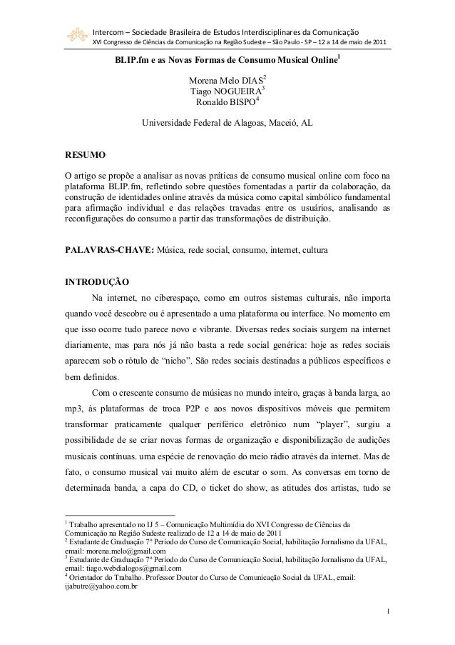 Intercom – Sociedade Brasileira de Estudos Interdisciplinares da Comunicação XVI Congresso de Ciências da Comunicação na R...
