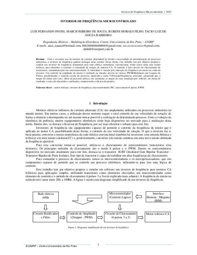 Inversor de Freqüência Microcontrolado | 2010 © UNIRP – Centro Universitário de Rio Preto 1 INVERSOR DE FREQÜÊNCIA MICROCO...