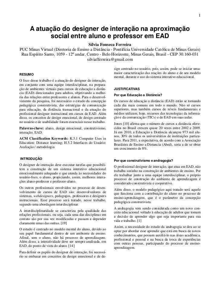1       A atuação do designer de interação na aproximação             social entre aluno e professor em EAD               ...