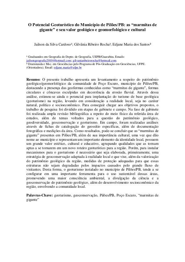 """O Potencial Geoturístico do Município de Pilões/PB: as """"marmitas degigante"""" e seu valor geológico e geomorfológico e cultu..."""
