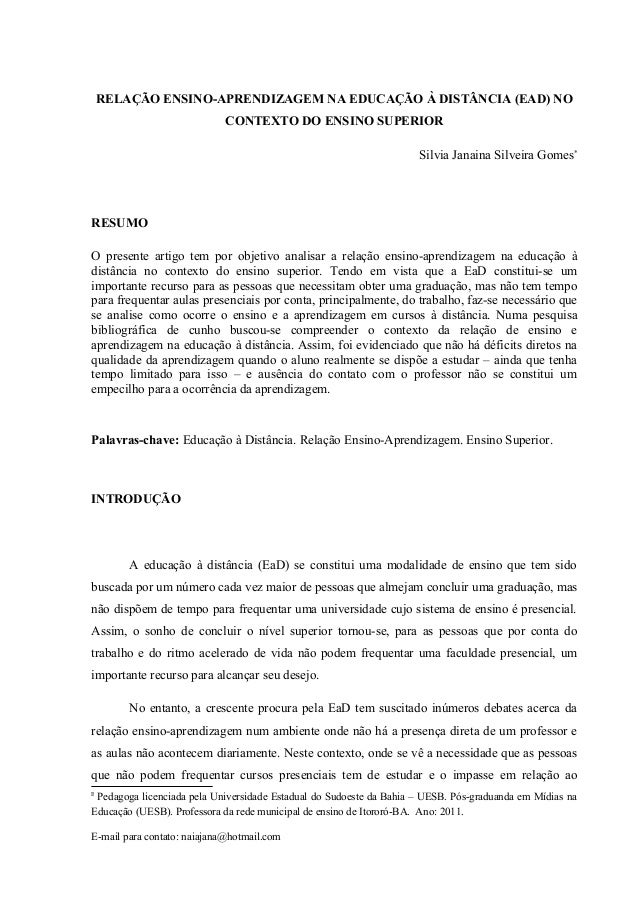 RELAÇÃO ENSINO-APRENDIZAGEM NA EDUCAÇÃO À DISTÂNCIA (EAD) NO                            CONTEXTO DO ENSINO SUPERIOR       ...