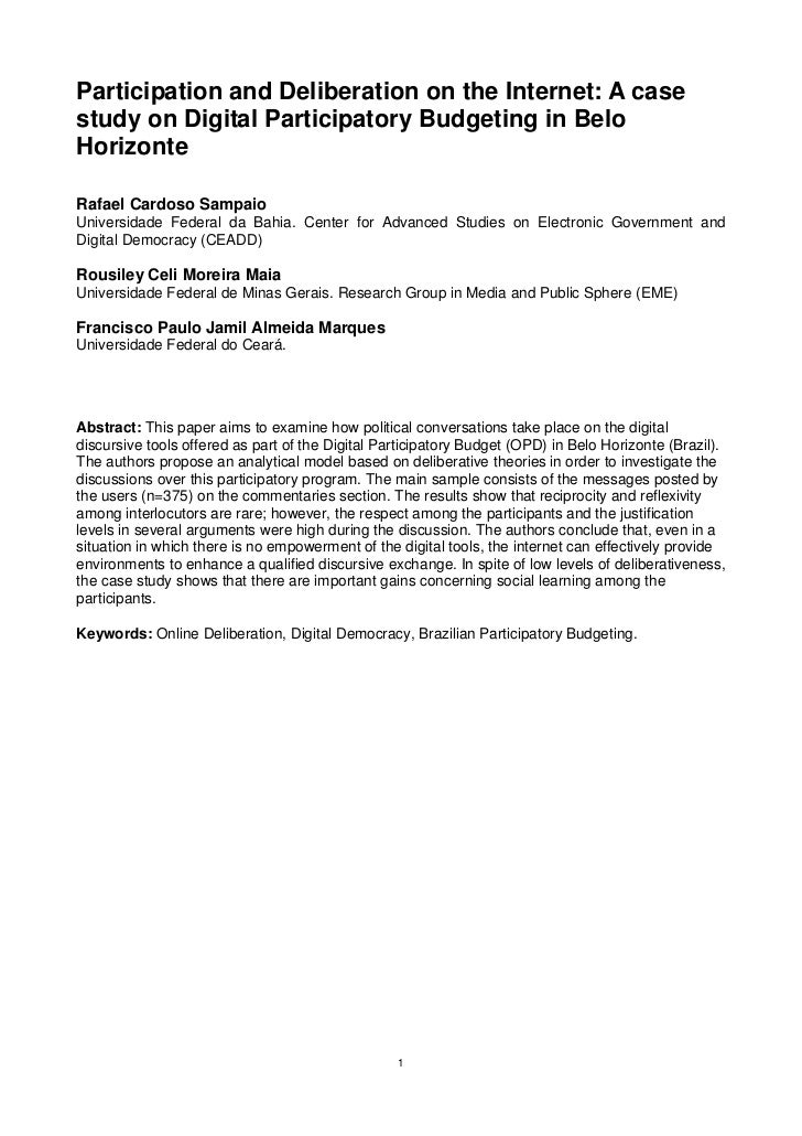 Participation and Deliberation on the Internet: A casestudy on Digital Participatory Budgeting in BeloHorizonteRafael Card...