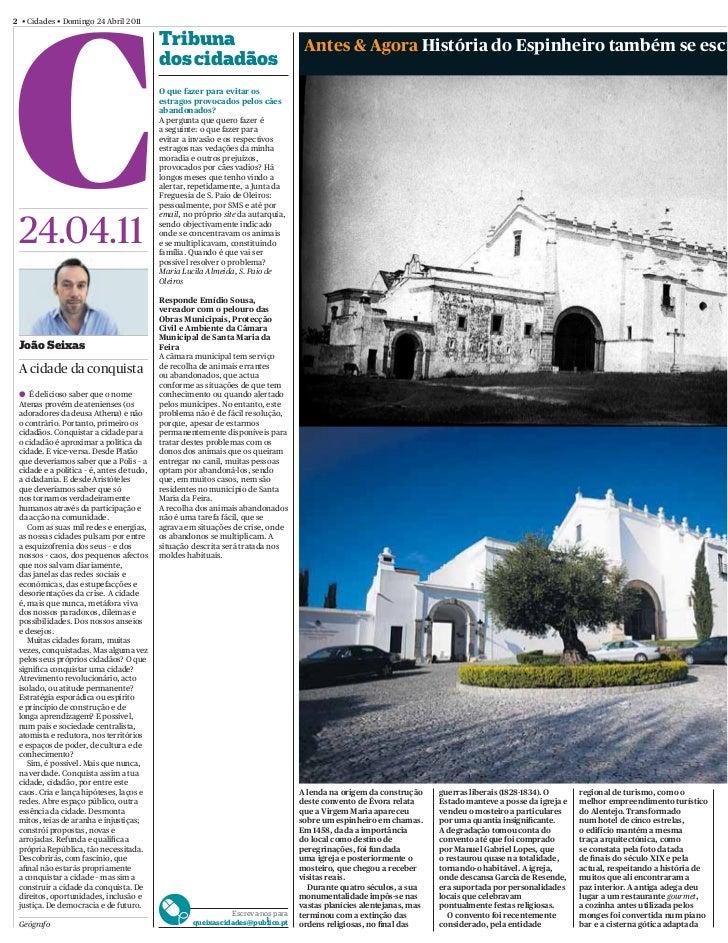 2 • Cidades • Domingo 24 Abril 2011                                           Tribuna                                 Ante...