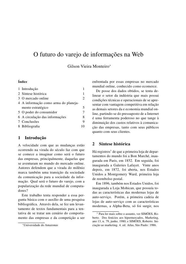 O futuro do varejo de informações na Web                                    Gilson Vieira Monteiro∗   Índice              ...