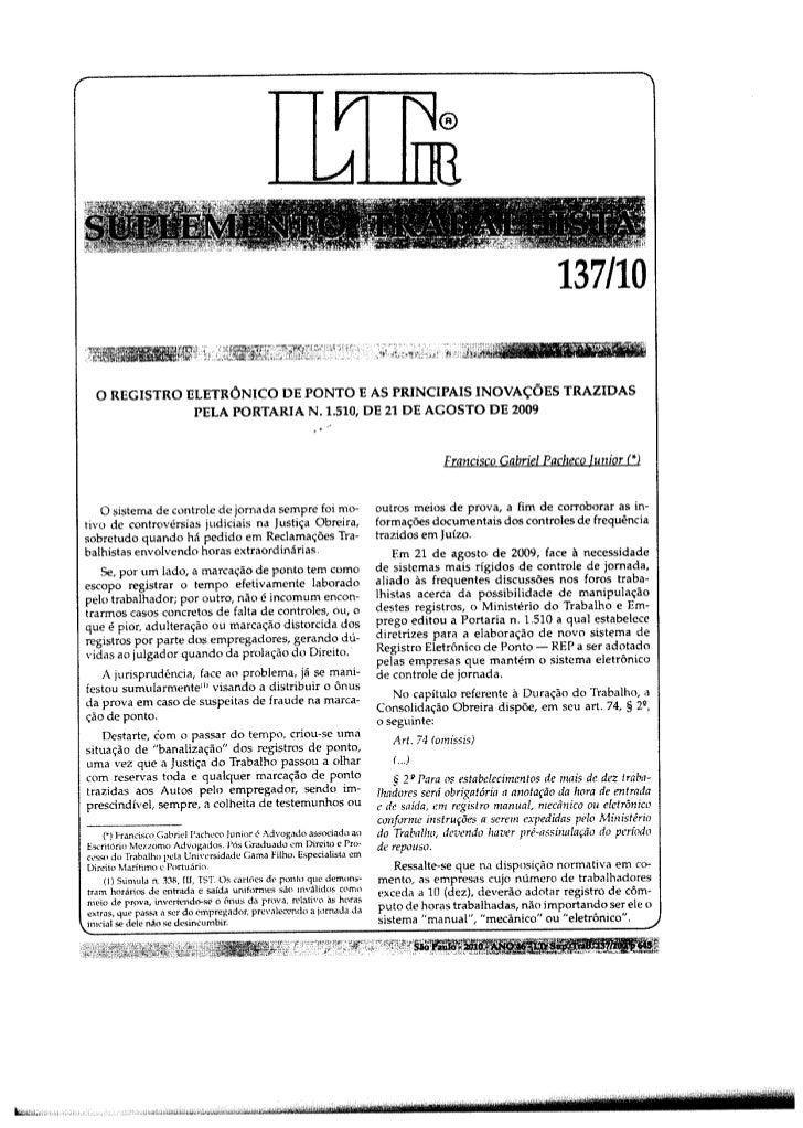 Artigo Jurídico Registro Eletrônico de Ponto