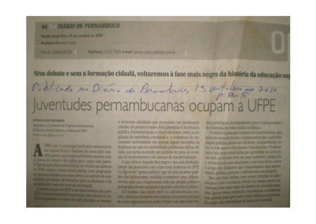 Artigo juventudes pernambucanas ocupam a ufpe, de otávio luiz machado