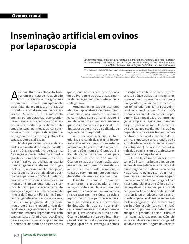 [Ovinocultura]  Inseminação artificial em ovinos por laparoscopia Guilherme de Medeiros Bastos1, Luiz Henrique Silveira Ma...