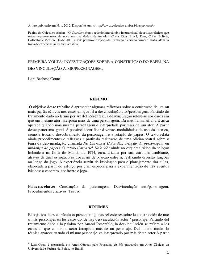 Artigo publicado em Nov. 2012. Disponível em: < http://www.colectivo-ambar.blogspot.com/>Página do Colectivo Âmbar – O Col...