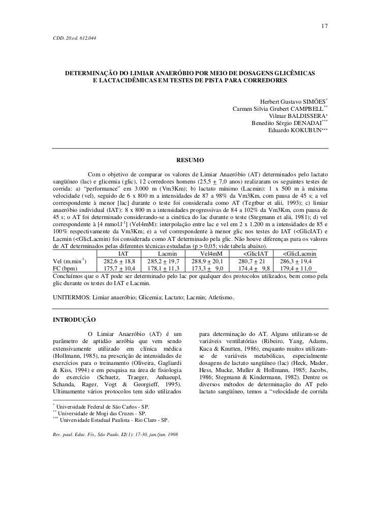 17CDD. 20.ed. 612.044      DETERMINAÇÃO DO LIMIAR ANAERÓBIO POR MEIO DE DOSAGENS GLICÊMICAS            E LACTACIDÊMICAS EM...
