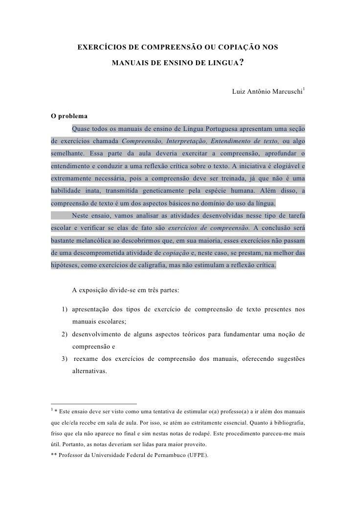 EXERCÍCIOS DE COMPREENSÃO OU COPIAÇÃO NOS                             MANUAIS DE ENSINO DE LINGUA?                        ...