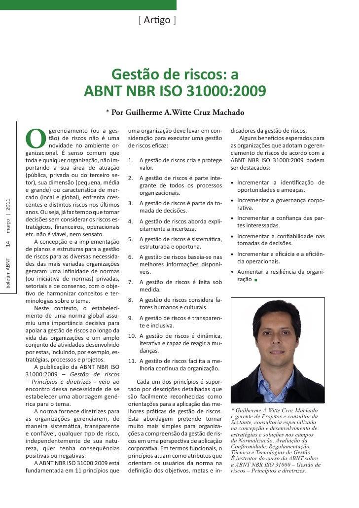 [ Artigo ]                                         Gestão de riscos: a                                      ABNT NBR ISO 3...